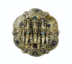 A TRANSYLVANIAN SILVER-GILT COPE CLASP INSERT WITH TURQUOISES AND COLOURED GLASS, MICHAEL GUNTERDT, NAGYSZEBEN (SIBIU), 1636-1659.