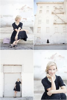senior session: Anthropologie dress with vintage styling