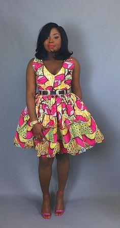 African mixed print cocktail dressAfrican