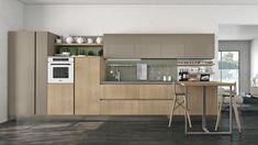 Wood veneer fitted kitchen CLOVER 04 by Cucine Lube Gourmet Sandwiches, Design Studio, Wood Veneer, Kitchen Design, Kitchen Cabinets, Table, Furniture, Lak, Home Decor