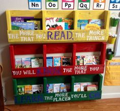 bookshelves for classrooms ideas   Display book shelves we made from one pallet, with Dr. Seuss quote.