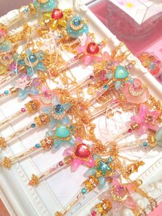 the society for the study of fairy kei, yumekawaii and other cute things Kawaii Accessories, Kawaii Jewelry, Cute Jewelry, Diy Resin Crafts, Magical Jewelry, Girly, Resin Charms, Kawaii Shop, Fantasy Jewelry