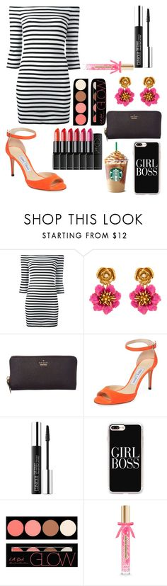 """""""Untitled #12053"""" by ohnadine ❤ liked on Polyvore featuring Zoe Karssen, Oscar de la Renta, Kate Spade, Jimmy Choo, Sephora Collection, Casetify, Dita Von Teese, L.A. Girl and Victoria's Secret"""