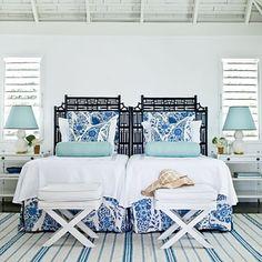 Love the white and blue theme...looks like a beach room.