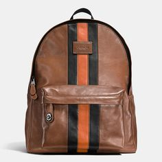 Bold racing stripes add a sporty twist to the popular Coach Campus Backpack. This graphic update is crafted in smooth sport calf leather, with wide padded straps for comfort, room for a laptop and an iconic turnlock securing the outside pocket.