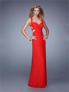 Elegant Sheath Gathered Bodice Cutout Straps Back Prom Dress PD11997
