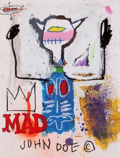 """JEAN MICHEL BASQUIAT: titled on back """"MAD KING"""" & signed and dated 81"""