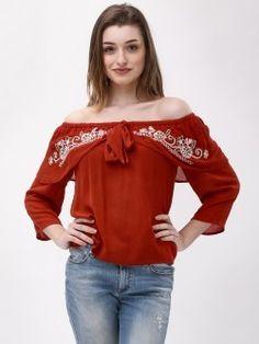 c5a2238915f9d MIWAY Embroidered Off-Shoulder Top Off Shoulder Tops