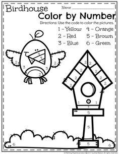 FREE Spring Preschool Worksheet - Color by Number.