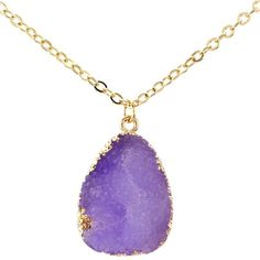 Teardrop Necklace Gold Purple Druzy ($24) ❤ liked on Polyvore featuring jewelry, necklaces, boho necklaces, bohemian necklaces, gold druzy necklace, gold jewellery and yellow gold necklace