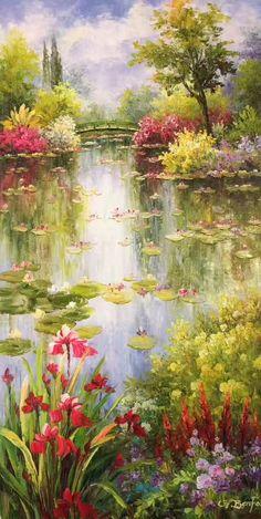 "ID=CS-H40; size:60x120cm(24""x48""inch); 100% hand-made oil painting,decoration,mu... - #Handmade #IDCSH40 #Oil #paintingdecorationmu #size60x120cm24x48inch Painting Flowers, Oil Painting Trees, Painting Canvas, Bob Ross Paintings, Monet Paintings, Landscape Paintings, Landscape Illustration, Illustration Art, Mural Art"