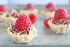 OMG, Raspberry Topped Chocolate Mousse Tarts! -