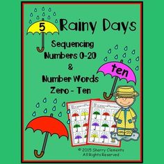 Rainy Days (Umbrellas) - Numbers (0-20) and Number Words (zero-ten) Sequencing (black and white set)This 4 page pack was created with differentiation for students in mind. Students can sequence numbers 0-10, 11-20, or 0-20 depending on the level of each student.