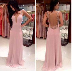 long prom dress, pink prom dress, sexy prom dress, backless pom dress, 2016 prom…