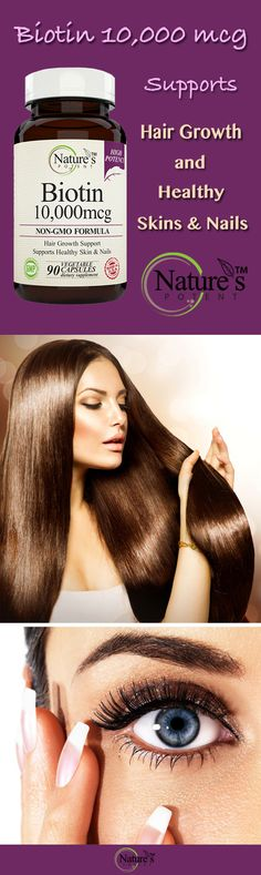 Nature's Potent - Biotin 10,000 mcg Wellness Supplement for Hair Growth, Healthy Skin and nails.