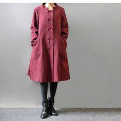 Women irregular cotton linen coat