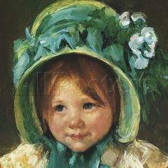 "Mary Cassat, painter ""Children in Art"".  titled: Sara in the green hat"