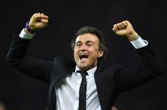 Barcelona's coach Luis Enrique celebrates after winning during the UEFA Champions League Final football match between Juventus and FC Barcelona at the Olympic Stadium in Berlin on June 6, 2015