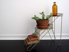 Vintage Metal Plant Stand - Mid Centruy Modern Planter, Metal Shelf, Display