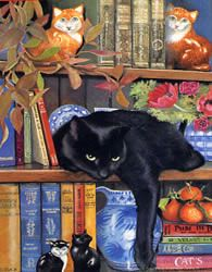 """""""On the Shelf"""" illustration by Chrissie Snelling whose inspiration is her great love of animals."""