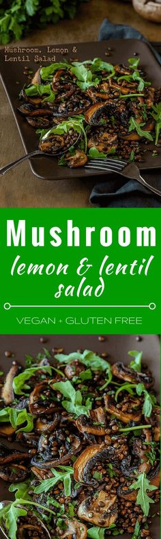 Mushroom, Lemon and Lentil Salad - this hearty vegan salad is great for lunches and picnics and can be made ahead of time. It is also gluten free. | Get the recipe at DeliciousEveryday...