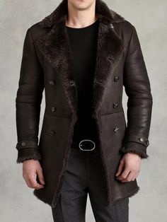John Varvatos - Brown Double Breasted Shearling Coat for Men - Lyst Mens Fur, Mens Shearling Coat, Sheepskin Coat, Men's Coats And Jackets, Leather Men, Leather Boots, Leather Jackets, Black Leather, Double Breasted