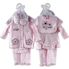 7pk Pink Flower Baby Clothes Layette Gift Set For Baby Girls (6-9 months) $39.99