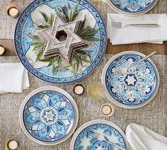 Hanukkah Medallion Salad Plates, Set of 4 - Assorted