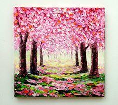 Flor de cerezo árbol Original pintura al óleo por NuuPaletteKnife