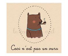 Cartolina orso magritte con pipa, arte francese, cartoline stampate colore marrone, crema, azzurro