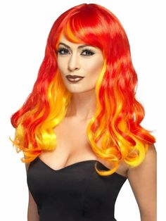 Costume Feu, Fire Costume, Costume Wigs, Red Ombre, Halloween Fancy Dress, Halloween Kostüm, Halloween Costumes, Marvel Dc, Ombre Wigs