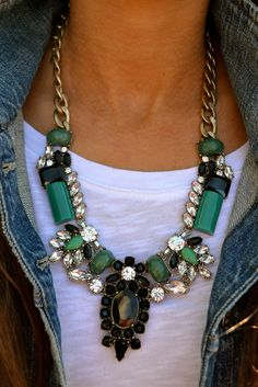 fashion, statement necklaces, style, white tee, emerald, jean jackets, statement jewelry outfit, accessories, chunky necklaces