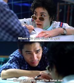 """Faye Wong and Tony Leung in """"Chungking Express"""" by Wong Kar Wai. Fumbly sweet story, and Faye Wong is as amazing as her Cantonese cover of The Cranberries' """"Dreams"""". Cinema Movies, Movie Tv, Hk Cinema, Faye Wong, Brigitte Lin, Chungking Express, Kong Movie, Movie Subtitles, Movie Shots"""