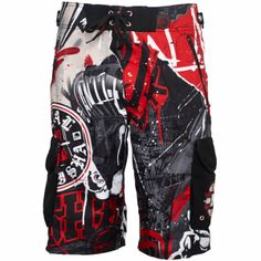 Metal Mulisha D-Lush De Cinco Boardshort 30/'/' Waist Surf Board Shorts Black Red