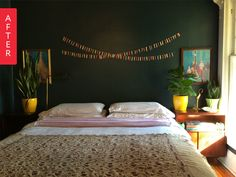 Before & After: A Drab Wallpapered Bedroom Gets a Dark Paint Makeover