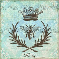 Digital Download No 223  French Bee with Crown Print by OliveRue, $4.00