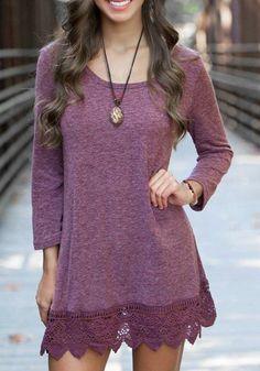 heather plum jersey dress with crochet/lace hem