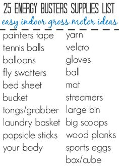 25 easy ideas for indoor gross motor play. These indoor gross motor activities make great energy busters for when the kids are stuck inside. Gross Motor Activities, Movement Activities, Indoor Activities For Kids, Preschool Activities, Games For Kids, Kid Games, Hurricane Preparedness Kit, Movie Party, Painters Tape