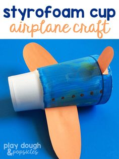 Super Easy Airplane Craft made with a Large Styrofoam Cup. Great for Preschool Kids.