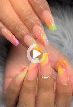 Fall Acrylic Nails, Rainbow Nails, Pink Nails, Summer Nails, Nail Art, Glitter, Summery Nails, Pink Nail, Nail Arts