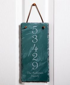 Loving this Hunter Green House Number Personalized Slate Plaque on #zulily! #zulilyfinds