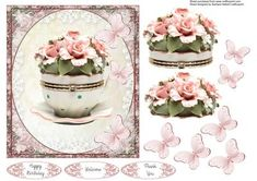 Rose Tea Cup Topper with Decoupage on Craftsuprint designed by Barbara Hiebert - This is a china rose teacup box, with rose and butterfly decoupagethe sentiment tags say,Happy BirthdayWelcomeThank You - Now available for download!