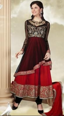 Black and Red Layered Georgette Anarkali Suit The tints of glow, so calm and serene will slowly smile upon you as you don this black and red shade net and faux georgette layered Anarkali suit. Kameez features decorative patterns adorned neckline and yoke part. Net upper layer with asymmetrical border and georgette inner layer with aari embroidered wide border completes the look. #DesignerAnarkaliSuits #SuitsOnlineShopping