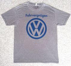 Mens (XL-slim/muscle-fit) VOLKSWAGEN FAHRVERGNUGEN T-SHIRT Faded-Gray&Blue VW #Volkswagen #GraphicTee