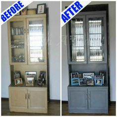 Hutch Makeover ~  painted laminated wood ~ gone with the 90's look !