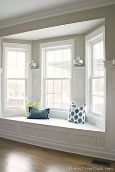 creating a window seat in our bay window - yes, please!               From: A Dream Realized