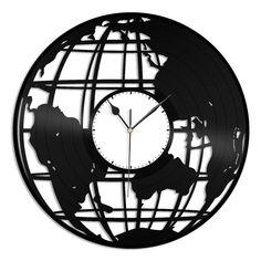 Terra (Globe) 3d Vinyl Wall Clock – VinylShop.US Old Vinyl Records, Vinyl Record Art, Record Clock, 3d Wall Clock, Wall Art, Life Hacks Youtube, Islamic Art Calligraphy, Repurposed Items, Making Out
