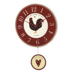 From The London Clock Company, this red wooden kitchen clock has a traditional analogue dial with a sweet polka dot hen motif and a lovely heart printed pendulum. Red Kitchen Walls, Wooden Kitchen, London Clock, Pendulum Wall Clock, Kitchen Wall Clocks, Wall Clock Online, Heart Print, Soft Furnishings, Country Kitchen
