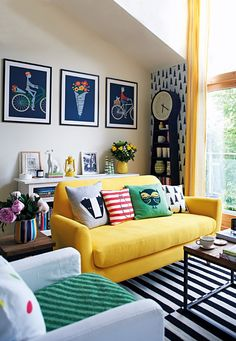 from #InStyle The Citrus Twist For The Citrus Twist palette, Taylor fearlessly combines lemon yellow, grapefruit orange, and leafy green to create whimsical and cheerful rooms, as here in his London home.