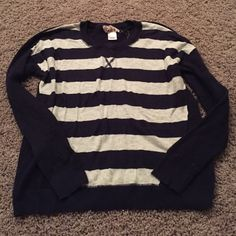 Striped lightweight sweater White and navy strips with solid navy back and sleeves. Material is thin and lightweight, a little sheer in the back SO Tops Tees - Long Sleeve